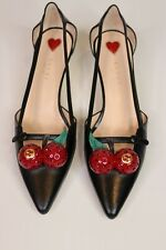 Gucci Shoes Black Leather Cherry Pump with bamboo effect heel size 37.5 UK 4.5