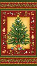 """Old Time Christmas"" Panel by Northcott Fabrics-24"" x 44""-Christmas Tree, Toys"