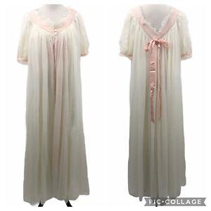 *EXQUISITE VINTAGE NYLON EYE FULL NEGLIGEE & GOWN Set Sz M 34 Peignoir Lace Robe