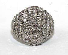 Round Diamond Cluster Pave Dome Ring Band 14k White Gold 3.48Ct