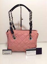 Authentic Prada Shoulder Bag. Rose Nylon & Black Leather. Cards. Ex Cond.