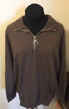 Allen Allen Used Brown Athletic Pullover Zipper Long Sleeved Women's Large L (A)