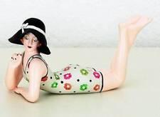 Bathing Beauty Figurine Figure Shelf Sitter Floral Print W/Black Hat