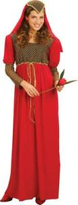 Lady Fancy Party Medieval Maiden Costume Maid Marian Juliet Dress + Headpiece UK