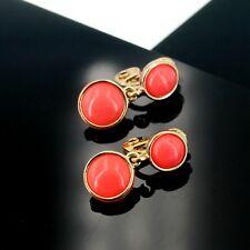 Boucles d'Oreilles CLIP ON NON Percé Deux Petit Perle Orange Corail Retro J13