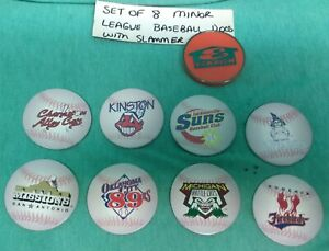 1998 Eckrich set of 8 Minor league baseball team pogs with orange slammer - new