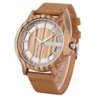 Wood Watch Men Women Quartz Skeleton Wooden Watch Soft Leather Band Wristwatch