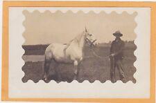 Real Photo Postcard RPPC - Man and Large White Horse - Decorative Border