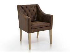 Polsterstuhl Polstersessel mit Armlehnen Stuhl CARLOS Microfaser vintage Braun