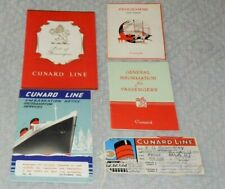 Lot of (5)1950's Vintage Cunard Line Memorabilia - Paper Emphemra - Vg Condition