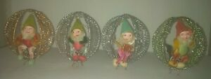 Vintage Four Gnomes on Pinecone Sitting in Tinsel Mesh Swing Christmas Ornaments