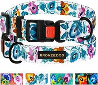 """Floral Dog Collar, Pet Leash and Harness for Medium Large Dogs Neck Fit 14""""-18"""""""