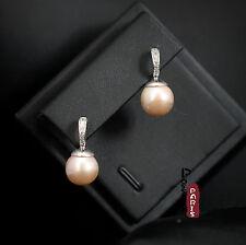 Pendiente`Orejas Nácar Perla Cultivada Ronda Rosa Plata Maciza 925 10mm-11mm d