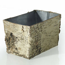 "Birch Pot w Zinc Liner Floral Square 6"" x 4"", DIY Brides Weddings Vase Decor"