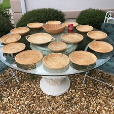 Lot 16 Bamboo Wicker Vtg 1 Basket 12 Plate Holders 1 Serving Tray 2 Other Plates