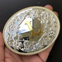 INITIAL Belt Buckle L Letter ALPHABET Western Cowboy SILVER Gold HIGH QUALITY