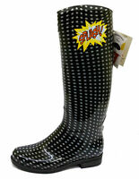 LADIES POLKA DOT FLAT WELLINGTON WELLIES RUBBER RAIN WALKING FESTIVAL BOOTS 4-8
