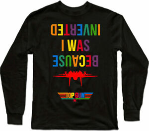 Inverted Top*Gun Tee Colorful Movie long I Because Was Cruise F14 sleeve Men's -