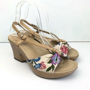 Dansko Women's Sandals Naomi Floral White Slingback Platform Wedge Size 37