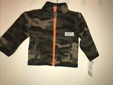 Carter'S Baby Boys' Camouflage Microfleece Zip-Up Jacket Olive Multi 9 Month Nwt