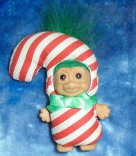 "New ListingRuss Troll Doll Christmas 3"" Candy Cane Costume Green Hair"