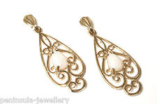9ct Gold Opal Filigree Drop Earrings Gift Boxed Made in UK Xmas Christmas Gift