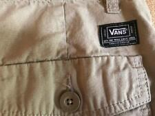 VANS men's size 28 beige cargo shorts flat solid zip fly cotton
