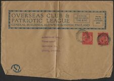 UK GB 1920 ONE PENNY K GEORGE DOUBLE PRINT ON PATRIOTIC LEAGUE NEWSPAPER WRAPPER