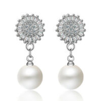 Princess Elegant 925 Sterling Silver Brilliant Zircon Pearl Stud Drop Earrings