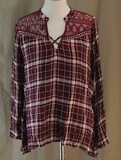 Self Esteem, Large, Red Plum Plaid Top, New with Tags