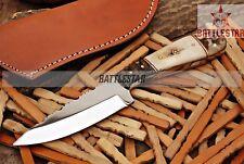 8.5 INCH CUSTOM SILVER SKINNER J2 STEEL KNIFE HANDLE BONE/ SHEEP HORN MOSACI PIN