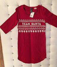 """NEU H&M Top Nachthemd Rot Weiß Weihnachten Xmas """"Team Santa"""" Schneeflocken XS-S"""