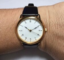 Brand New Classic Style Unisex 34mm Gold-plated Case & Leather Watch