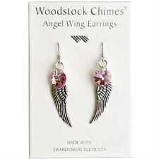 Woodstock Light Rose Angel Wings Earrings Jewelry Made in England Cwlr Pink