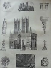 ANTIQUE PRINT C1860'S LINCOLN CATHEDRAL ENGRAVING EARLY TURRET GABLE CROSS ART
