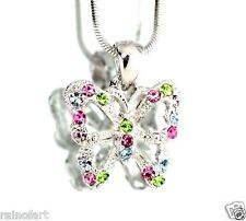 """W Swarovski Crystal BUTTERFLY Multi Color Wings Necklace 18"""" Chain Pendant"""
