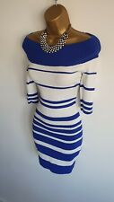 Jane Norman Blue white Striped Nautical Sexy off shoulder Knitted Jumper dress 8