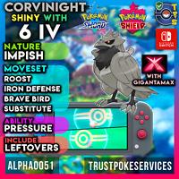 Pokemon Sword Shield Shiny Corviknight 6 IV   Impish   Gigantamax  Fast Delivery