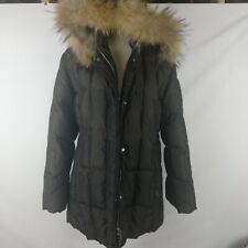 Feyem Women's Goose Down Racoon Fur Quilted Hoodie Black Winter Coats. Size Xl