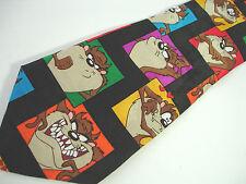 "Vintage 1993 Looney Tunes Taz Tasmanian Devil in Colorful Squares Necktie - 59"""