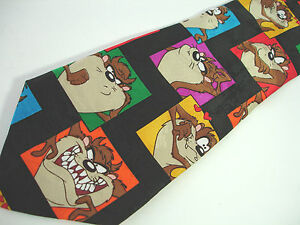 Looney Tunes Mania Black Necktie features Bugs Bunny Daffy Duck Tasmanian Devil in Comic Book Gangster Style