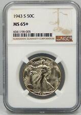 1943 S Walking Liberty Half Dollar - NGC Graded MS65+ !!