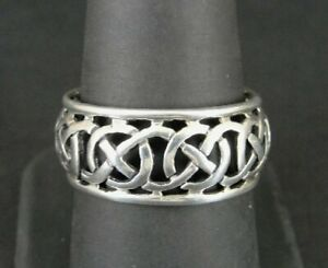 Ring Silver Band Circles Knot Intertwined Sterling 925 Size 9 Band Ring
