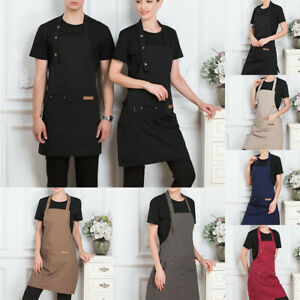 Unisex Canvas Adjustable Cooking Kitchen Apron Catering Chef Waiter  Work Apron
