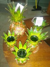 Nyco Cloisonne Enamel Pineapple Candle Holders Lot of 6