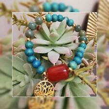Bracelet en Cornaline, Jaspe Vert et perles en bois