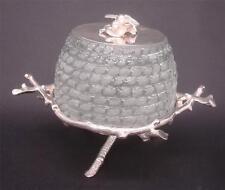 Victorian Style Beehive Honey / Jam / Preserve Jar Pot - Silver Plated & Glass