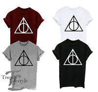 HARRY POTTER DEATHLY HALLOWS TRIANGLE  T-SHIRT  UNISEX CRAFTED FROM 100% COTTON