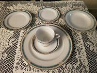 GORHAM CHINA ~ REGALIA COURT TEAL SIX PIECE/COMPLETE PLACE SETTING for ONE~NEW ☆