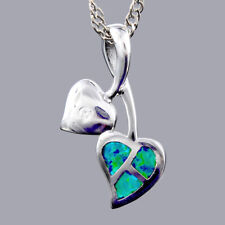 18K White Gold Plated Blue Green Opal Slide Pendant Necklace Curb Chain